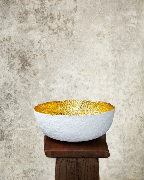"""Edge Cut""White & Gold Paper Pulp Bowl"