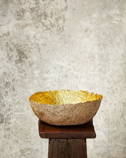 """Edge Cut""Natural & Gold Paper Pulp Bowl"
