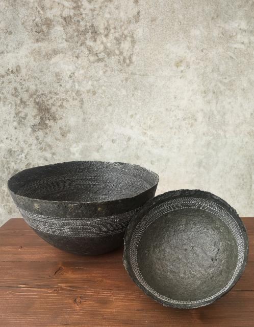 Charcoal Papier Mache Bowl