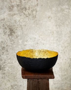 """Edge Cut""Black & Gold Paper Pulp Bowl"