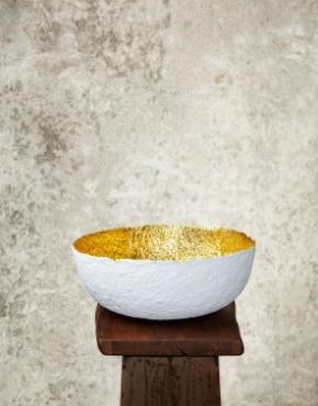 """Edge Cut""White & Gold Paper Pulp Bowl"