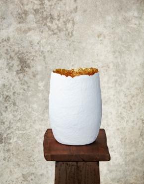 """Edge Cut""White & Gold Paper Pulp Vase"