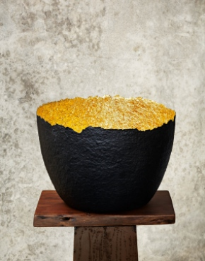 """Edge Cut""Black & Gold Paper Pulp Pot"
