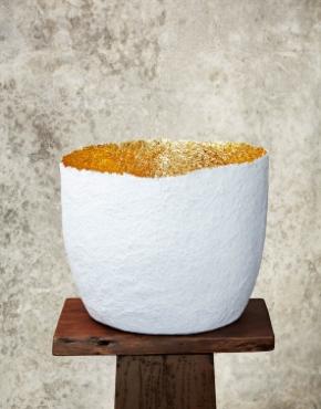 """""""Edge Cut""""White & Gold Paper Pulp Pot"""