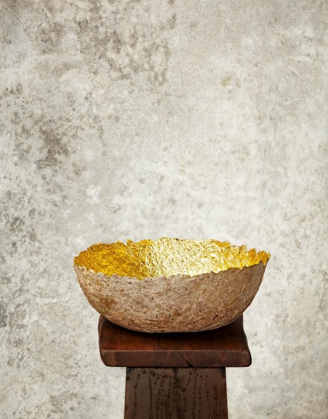 """Edge Cut""Natural & Gold Paper Pulp Bowl"